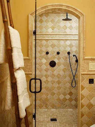 stylish walk in shower with tile artworks for the home pinterest photos. Black Bedroom Furniture Sets. Home Design Ideas