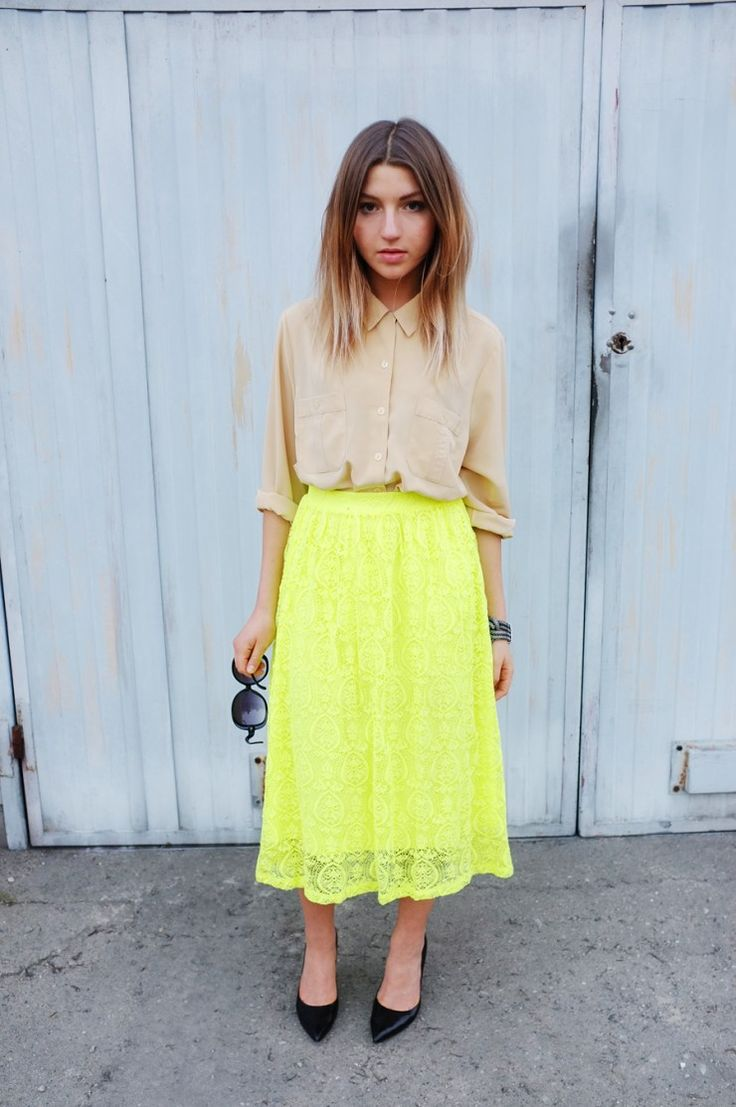 Best 25+ Neon yellow skirts ideas on Pinterest | Neon green outfits Yellow skirt outfits and ...