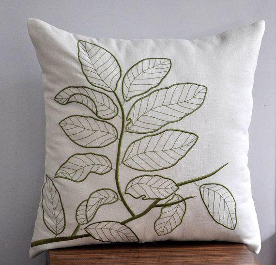 Cream Linen Pillow Cover Leaf Pillow Case Fresh Green by KainKain