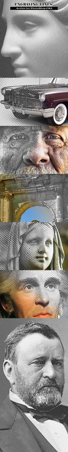 Las líneas de grabado - Acciones de Photoshop