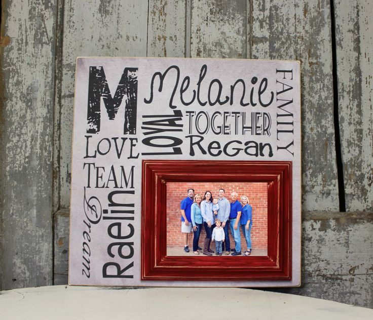 Monogrammed Picture Frame for Family, Picture Frame with Family Name Parent Names Kid Names on Personalized Sign with 5x7 Picture Frame by MadiKayDesigns on Etsy