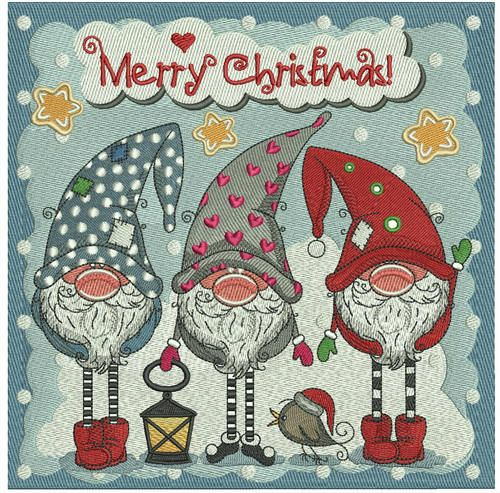 Christmas gnomes embroidery design