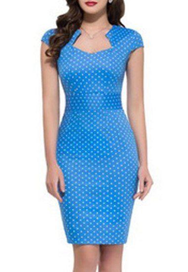 OL Style Sweetheart Neck Cap Sleeve Polka Dot Bodycon Pencil Dress For Women