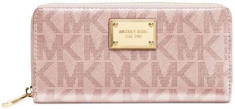 Micheal Kors Signature Metallic Zip Around Continental Wallet
