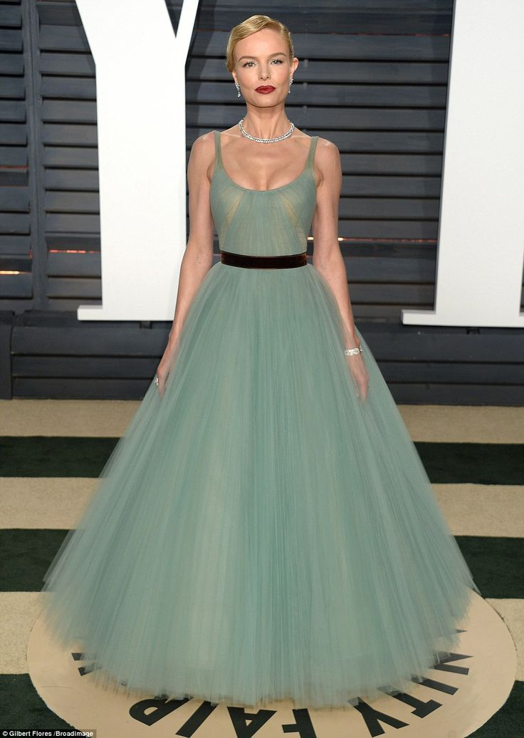 Dazzling beauty: Injecting some princess style into the bash was Kate Bosworth who looked exquisite in a mint green gown with a frothy hemline and a nipped in black waistbelt