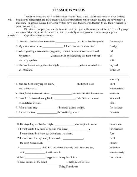 Transition Words Worksheet   Lesson Planet