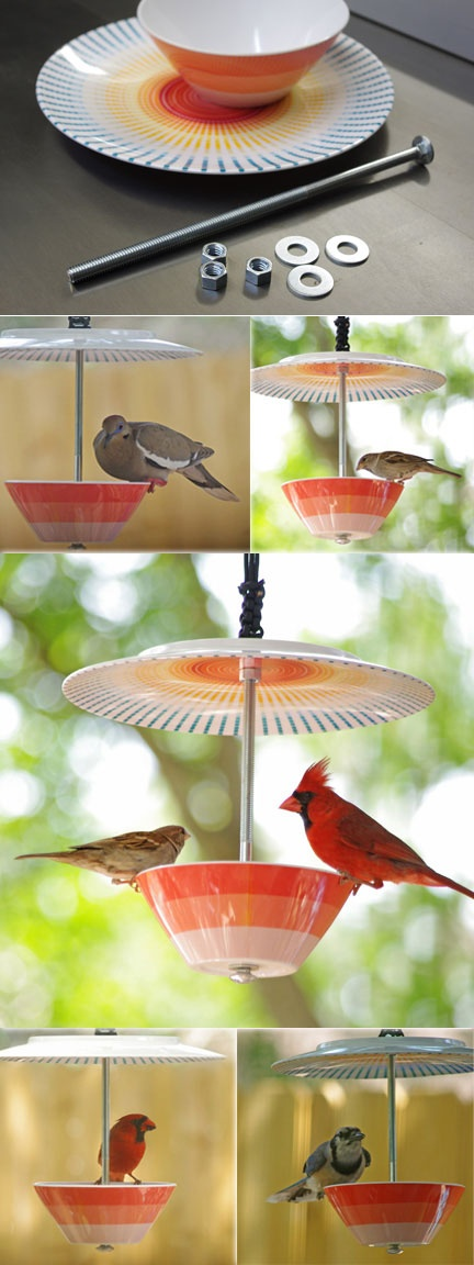 FOR THE BIRDS :: Bowl & Plate Birdfeeder Tutorial | #birdfeeder