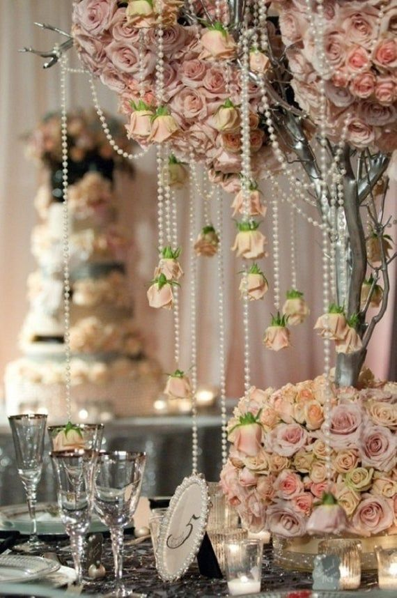 Wedding Ivory Pearl Garland Decoration Pearl Beads Centerpiece