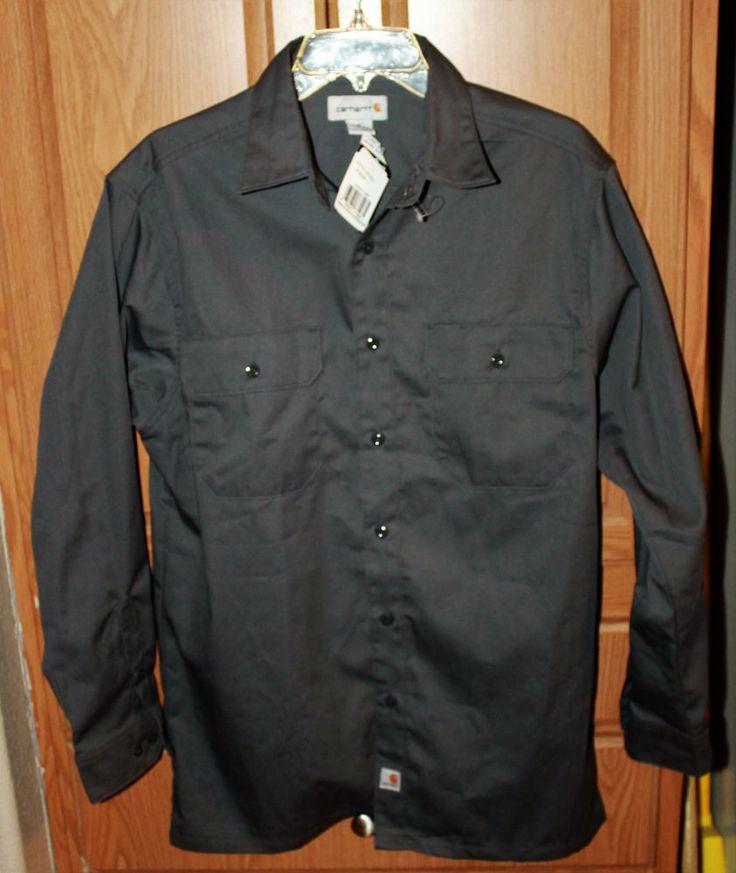 Carhartt Work Shirt Gray Sz Medium Regular NWT 32.00 Retail #Carhartt #Shirt