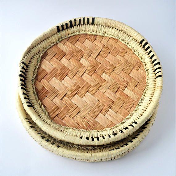 Hand woven basket Artisan handmade Palm leaves Tribal