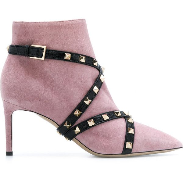 Valentino studded strap ankle boots ($1,275) ❤ liked on Polyvore featuring shoes, boots, ankle booties, strappy booties, high ankle boots, pointed toe booties, leather boots and pointy-toe ankle boots