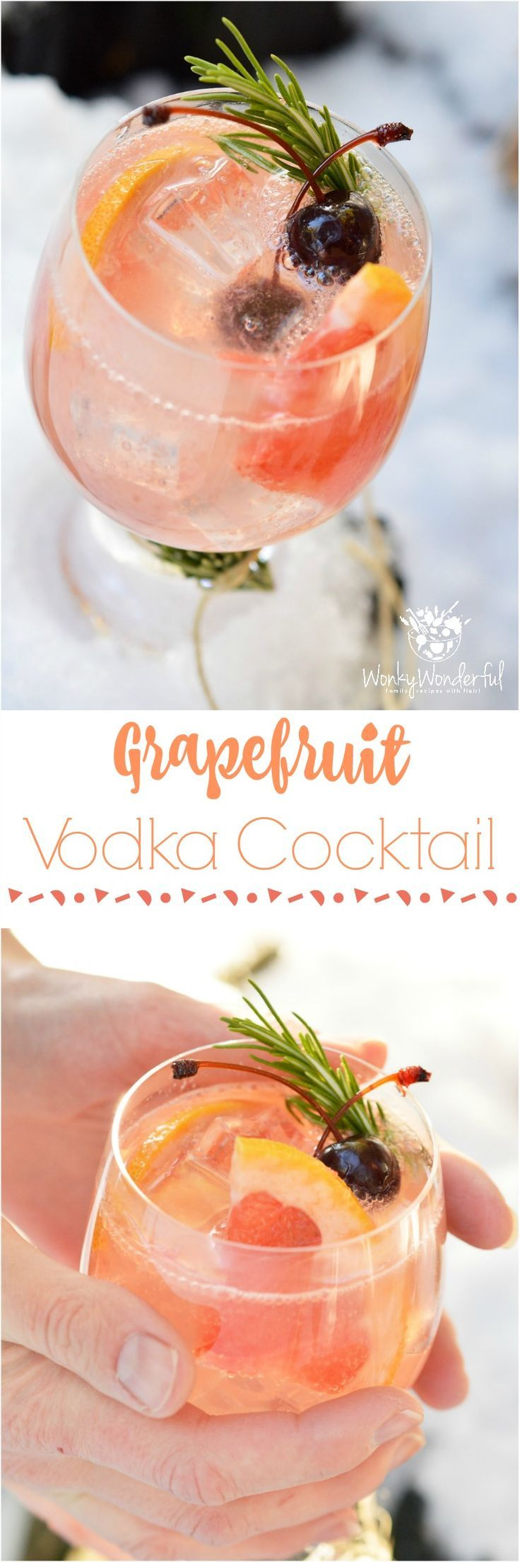 Ice, 2 ounces Vodka, Juice of 1/2 a Grapefruit, 7Up. GARNISH: Grapefruit Slices, Cherries, Rosemary INSTRUCTIONS: Fill glass with ice, vodka and grapefruit juice. Garnish with grapefruit slices, cherries and rosemary sprigs. Fill glass with 7UP.