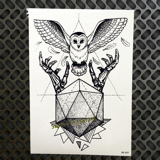 Black Diamond Geometry Owl Temporary Tattoo Sticker WOmen Fake Henna Waterproof Tattoo Decals 21*15CM Crystal Body Art ARm Tatoo