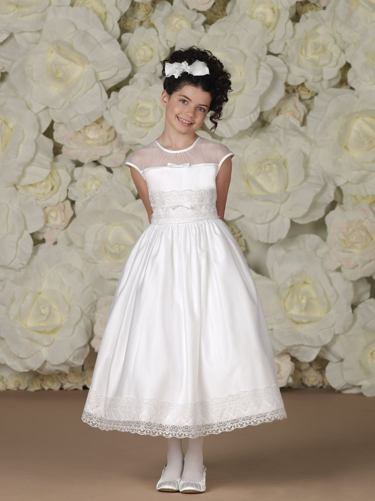 Flower girl dress. Satin, tulle, and lace tea-length A-line dress.  joan calabrese.