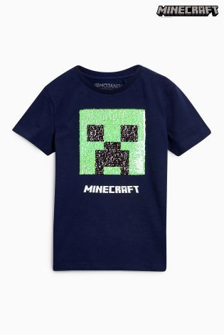 2cabc397a Navy Minecraft Sequin Change T-Shirt (4-14yrs) | Graphic Inspiration ...