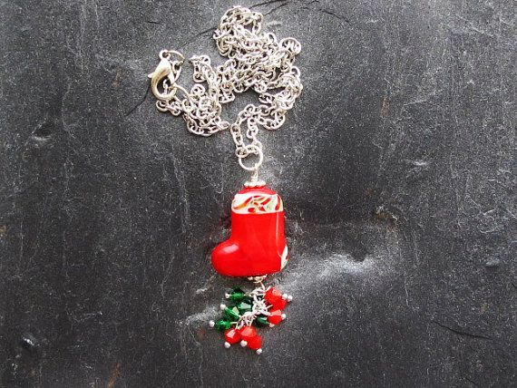 Christmas Stocking Necklace Red Sock by GlassHouseLampwork on Etsy