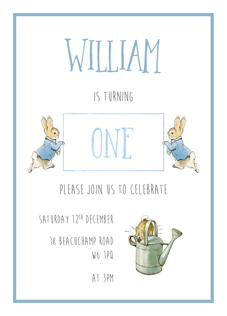 Peter Rabbit first birthday party. Designed by Paper Peonies stationery, London.