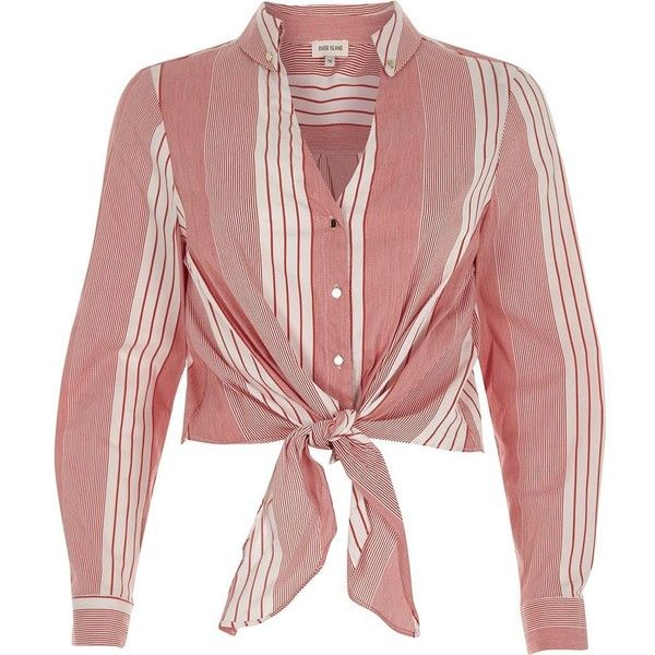 River Island Red stripe tie front cropped shirt ($56) ❤ liked on Polyvore featuring tops, shirts, red, women, tie front crop top, red v neck shirt, long sleeve stripe shirt, red shirt and long-sleeve crop tops