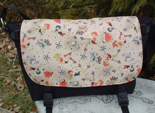 Retro Roller Derby Girls Messenger Bag, The Zelda by Zoe's Bag Boutique