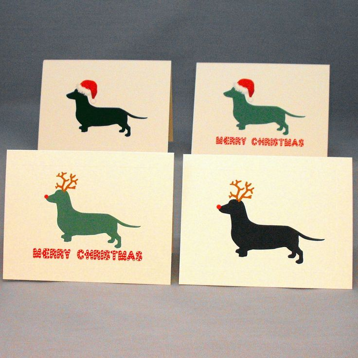 Dachshund Dog Christmas Cards Set of 4. $7.99, via Etsy.@Katherin Strobl - these made me think of you guys :)