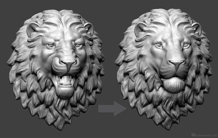 Lion Head 3d Model Angry And Calm Versions Zbrush