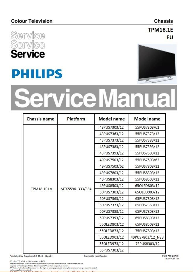 Philips 75pus8303 65pus8503 65pus7303 Tpm18 1ela Tv Service Manual Tv Services Electronic Circuit Projects Philips