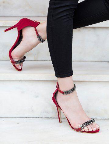William Kırmızı Süet Zincirli Topuklu Sandalet