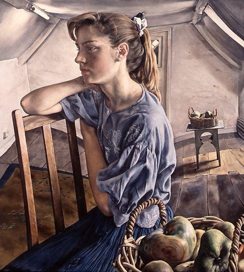 """""""Ellen"""" - Michael Taylor, 1991, oil on canvas {contemporary artist figurative woman portrait profile painting} <3 Lonely!!"""
