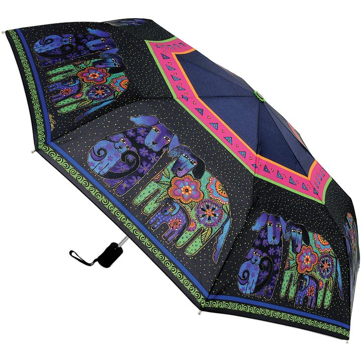 This Dog and Doggies umbrella from Laurel Burch features a beautiful design on its 42-inch canopy. The bright umbrella collapses to fit almost anywhere when the rain has stopped. It features an automatic open and close button.