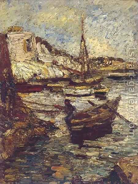 Boats in a Harbor - Adolphe Joseph Thomas Monticelli