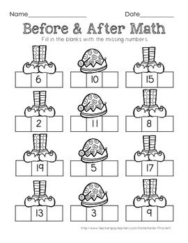 Freebie!!!Morning Work Math Freebie. This Christmas Elf themed worksheet is perfect for filling in the numbers before and after a given number (0-20)
