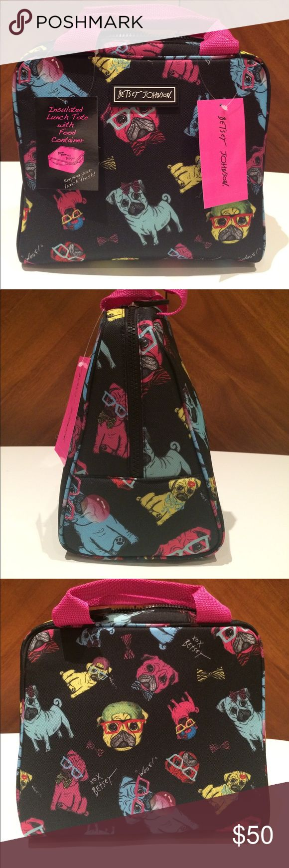 2Pc Betsey Johnson Pugs in Glasses Lunch Tote Tub Three authentic Betsey Johnson insulated lunch tote with matching Betsey xox Tupperware. The pugs on black print is super adorable and hard to find! Price firm, no trades. New, tags still attached. Betsey Johnson Bags Totes