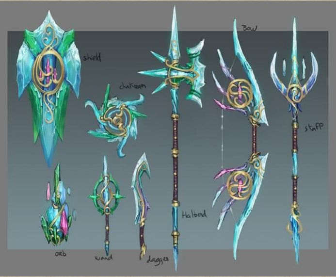 Runescape concept art - Crystal weaponry