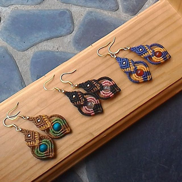 Macrame earrings #handmade #macrame #accessory #piece                                                                                                                                                                                 More