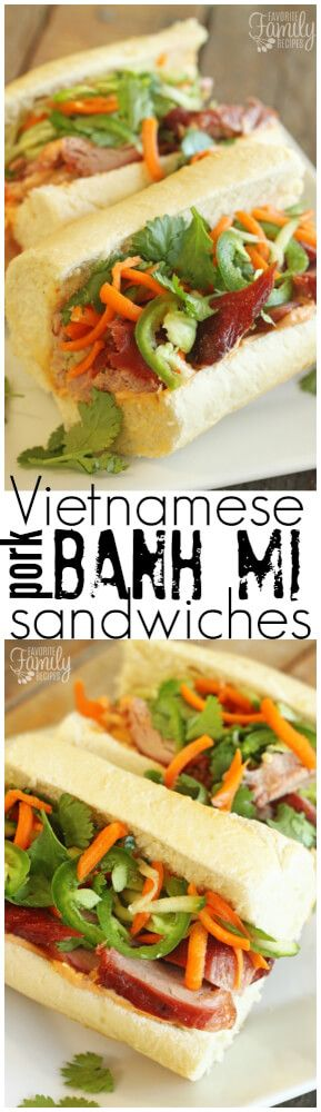 These BBQ pork Bahn Mi sandwiches will knock your socks off. They are so fresh and flavorful! They will quickly become a new favorite.  via @favfamilyrecipz