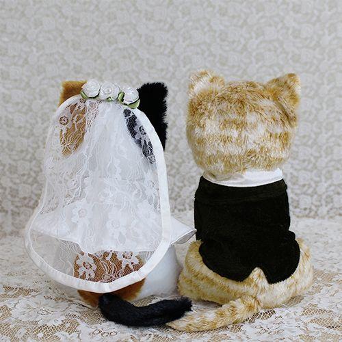 ウェルカムドール〔チャトラ猫とミケ猫〕完成品|チャトラ猫とミケ猫のカップルのぬいぐるみ商品画像2|結婚式演出の手作りアイテム専門店B.G.