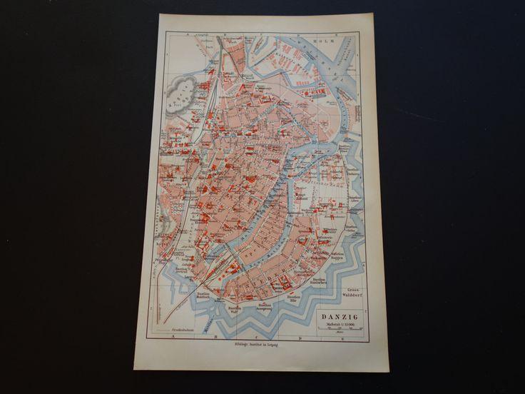 Gdańsk old map of Gdańsk - 1905 old city plan Gdańsk - alte historische Karte von stadtplan Danzig - vintage maps Germany Poland karte map by DecorativePrints on Etsy