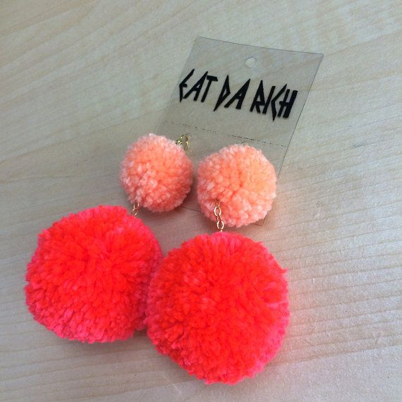 Hey, I found this really awesome Etsy listing at https://www.etsy.com/listing/229837969/two-tone-pom-pom-earrings-choose-your