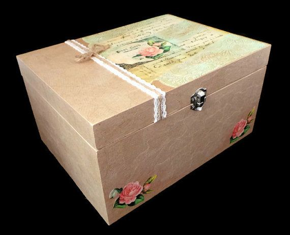 Large Wooden Box with Lid, Shabby Chic Wedding Keepsake Box, Decoupage Memory Box, Decorated Wedding Card Box, Gift for Bride, Storage Box