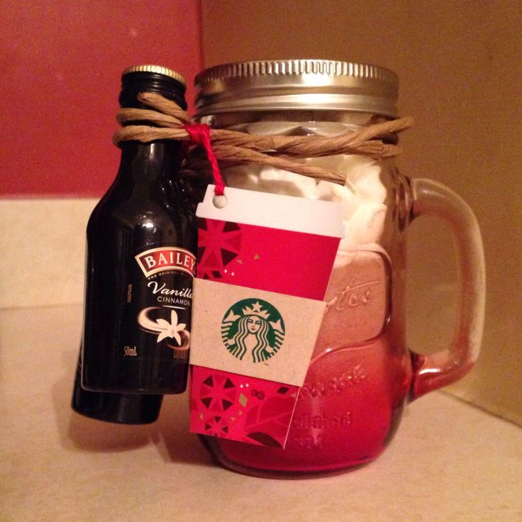 Yankee Swap gift this year! Hot chocolate, marshmallows, Baileys & Starbucks in an awesome mason jar! Someone is getting luckyyyy!