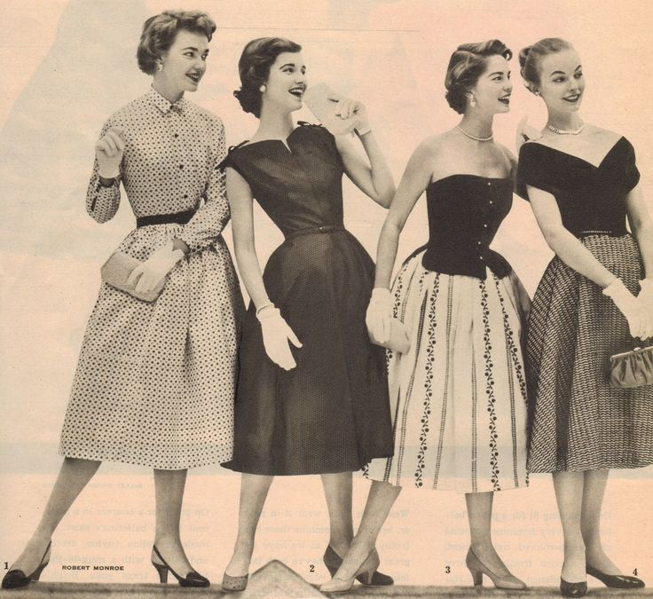1950s - A typical look might be a tight sweater with a pointy bra underneath, full, knee length circle skirt (so called because when you lay it out flat, it looks like a big circle with a hole in the middle), lots of swishy petticoats under that, bobby socks paired with simple but elegant mid heel court shoes to complete your outfit.