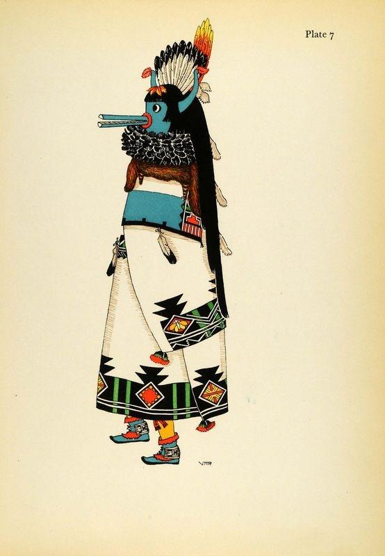 1941 Lithograph Pueblo Indian Costume. Zuni Shalako by Virginia More Roediger (via periodpaper).