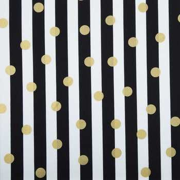 Black, White & Gold Dot & Stripe Apparel Fabric | Hobby Lobby | 271775