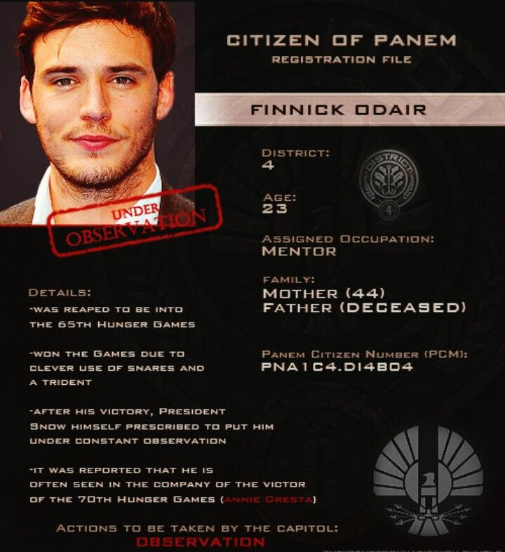 The Capitol's Files on Finnick Odair