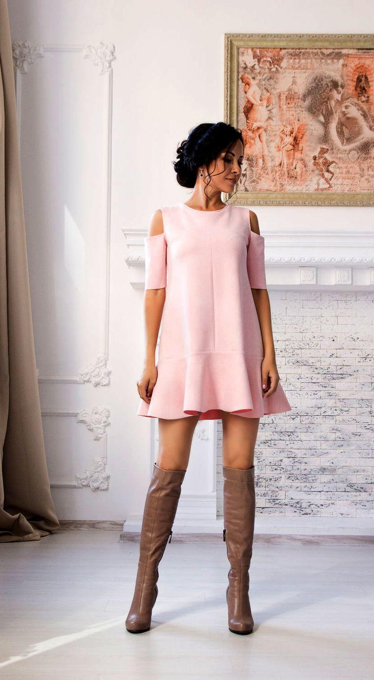 Suede Pink Dress | Замшевое платье «Солнышко» — Купить, заказать, платье, замша