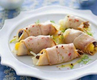 Involtini di pesce spada affumicato con finocchio e olive