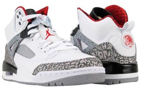 Nike Men's Jordan Spizike Sneakers 315371-122 White/Cement Grey/Black/Varsity Red 11.5