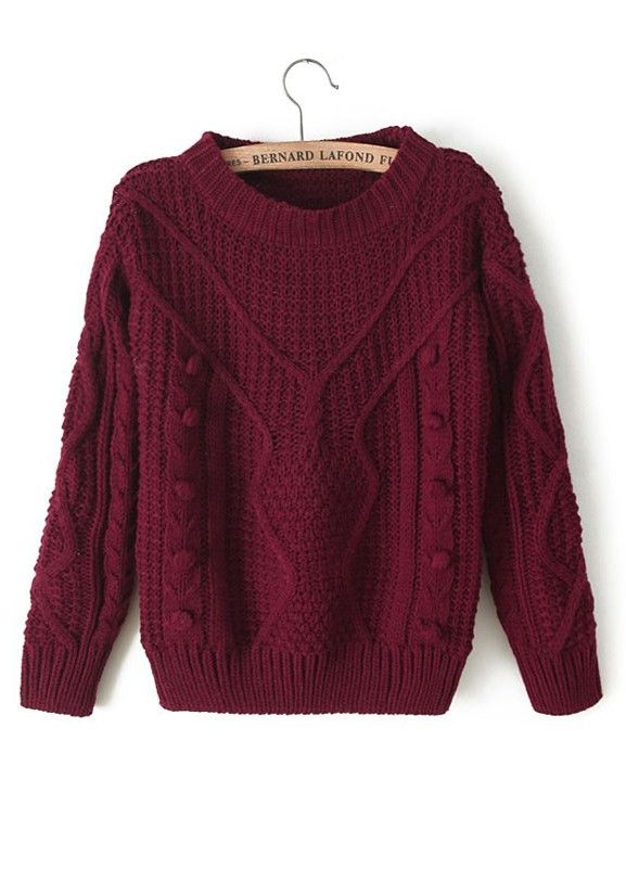 Champagne Plain Pleated Round Neck Thick Wool Blend Sweater