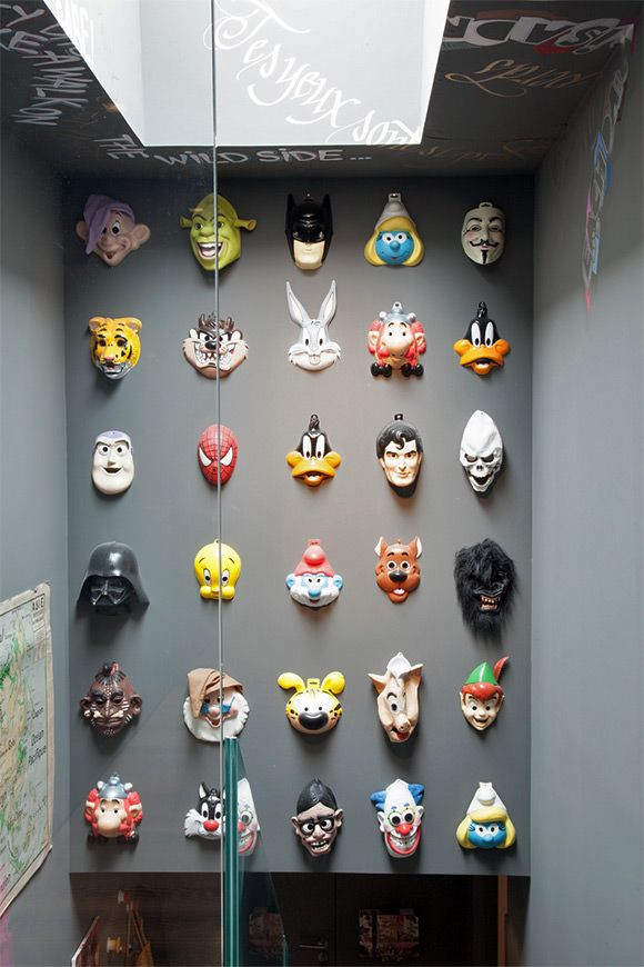 playful collection of masks in a kid's room/playroom Luv the idea of collecting vintage masks!