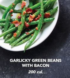 Garlicky Green Beans with Bacon. 200 calories